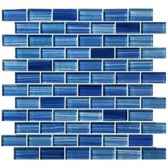 "Watercolors Caribbean Blue 1"" x 2"" Glossy Glass Pool Tile"