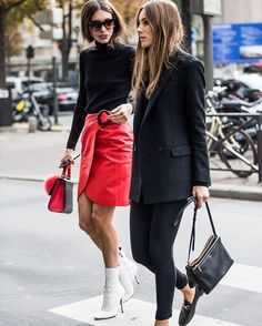 #style #streetstyle #ootd #outfit #outfitoftheday #inspiration #fashionweek #fashion #lookoftheday #trendalert #nyfw #nyfw16 #lfw #lfw16 #mfw #mfw16 #pfw #pfw16, fall winter, street style, black turtleneck long sleeve sweater, red leather skirt, white heels booties, black blazer, black pants, black loafers