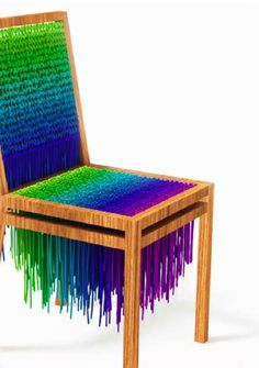 Knitted chair designed with wool, inspired by the psychedelic style. Value is colour is dominate in this design. Different design to most common chairs - Monika