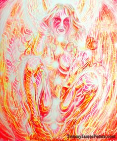 THE DEVIL Psychedelic and erotic painting. Chakras, kabbalism, spiritualism, magic mushrooms influenced art.