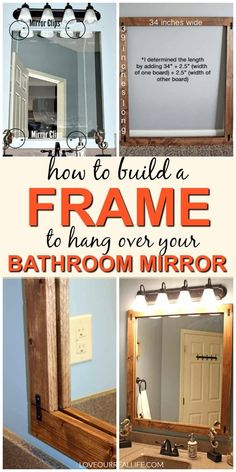How to Build a DIY Frame to Hang over a Bathroom Mirror ⋆ Love Our Real Life,Learn how to make a cheap frame to hang over your bathroom mirror. That's right, hang it directly on top / over your simple mirror, even with clips. Bathroom Mirrors Diy, Simple Bathroom, Bathroom Makeovers, Wall Mirrors, Bathroom Ideas, Bathroom Mirror Makeover, Silver Bathroom, Bathroom Hacks, Bathroom Updates