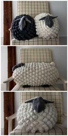 Giant Knit Bobble Sheep Pillow *Free Pattern*This knit. (True Blue Me and You: DIYs for Creatives) DIY Giant Knit Bobble Sheep Pillow *Free Pattern*This knit.DIY Giant Knit Bobble Sheep Pillow *Free Pattern*This knit. Crochet Home, Knit Or Crochet, Crochet Crafts, Yarn Crafts, Bobble Stitch Crochet, Crochet Baby, Free Crochet, Diy Crafts, Yarn Projects