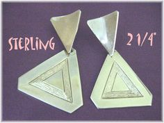 Sterling Silver - Pyramid of The Sun - Mexican Mexico Earrings - Modernist Modern - FREE SHIPPING by FindMeTreasures on Etsy