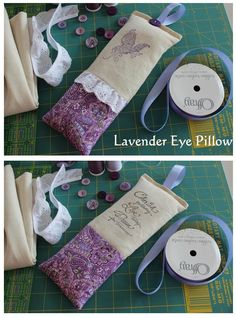"""Lavender Eye Pillow. Fun and easy to make.  Make any size you want. This one is 9.5"""" x 4"""" after sewn, but before it is filled. Use linen, favorite fabric, lace trim, stamp and ink pad, ribbon and button. Herbs used: 1/2 cup lavender buds, 1 Tablespooon chamomile, 1/4 cup mint, and 1 cup flax seed. Can be put in a refridgerator/freezer to make it cold or heat in the microwave for 20 to 30 seconds for a warm eye pillow. Great gift idea for weddings, showers, Mother's Day, and more."""