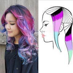 Hair Highlights Techniques Beauty 68 Ideas For 2019 Pastel Hair, Purple Hair, Ombre Hair, Creative Hair Color, Cool Hair Color, Hair Color Placement, Competition Hair, Colored Hair Tips, Hair Color Techniques