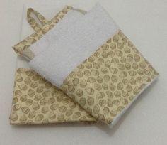 Pano de Prato ( 72x45cm) Sacaria, <br>Bate Mão Toalha ( 37X40cm) Toalha, aplicação em tecido.