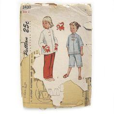 1950s Vintage Sewing Pattern / Children's Pajamas / Asian