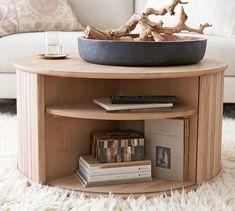 "Arlo 31"" Tambour Round Storage Coffee Table | Pottery Barn"