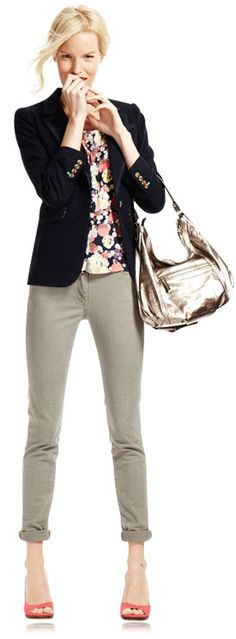 Cropped Pants, Floral Top & Navy Blazer.  Modern yet appropriate twist on a work outfit.