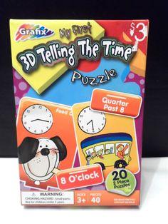 Telling Time Game Educational Toy 2/puzzles 40 pieces Grafix 3+ children kids  #Grafix