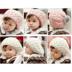 Winter Hats For Girls Boys  Baby  Toddler Warm Faux Rabbit Pompon Kids Hand Crochet Knit Fotografie Skullies Beanies