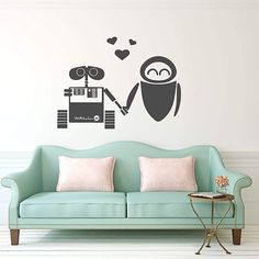 Vinyl Decor, Vinyl Wall Decals, Home Wall Painting, Wall E Eve, Disney Wall Art, Playroom Art, Childrens Room Decor, Paint Designs, Vinyl Designs