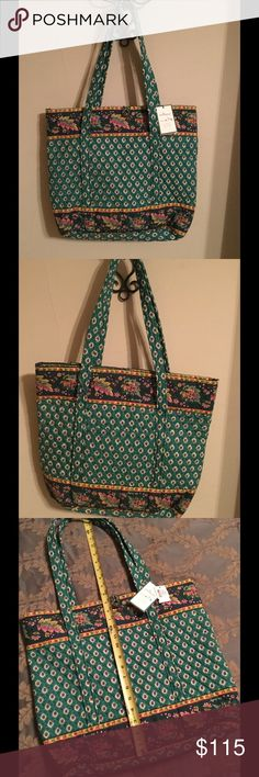 Vera Bradley Shopper/Tote Vera Bradley Shopper/Tote in long-time retired pattern Greenfield (2000-2001).  Measurements are as indicated in the last 2 pictures.  This particular patterned tote is rare and rarer still is to find one that is brand new with tags, in mint condition, never been used. Vera Bradley Bags Totes