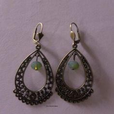 Boucles d'oreilles - Con Tenerezza Jolies dormeuses en bronze avec perles vertes.Sans nickel. http://lescreademarie.blogspot.fr/