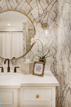 Guest Bathroom Refresh: Palm Leaf Wallpaper Bathroom — Nicki Pasqualone