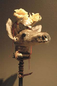 This deer head would be worn as a headdress by a Yaqui deer dancer. Sonora, Mexico. Exhibited at the Museo de Arte Popular in Mexico City