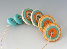 Southwest Artisan Set - (6) Handmade Lampwork Beads - Streaky Orange, Turquoise Green - Etched, Matte