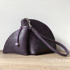Purple leather clutc