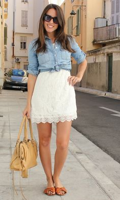 Chambray over white lace dress. Discover products you love at getrockerbox.com