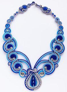 Beadworks by Kaori Nakakohji Ribbon Jewelry, Bead Jewellery, Fabric Jewelry, Jewelry Crafts, Gemstone Jewelry, Jewelery, Soutache Necklace, Fabric Necklace, Handcrafted Jewelry