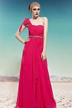 Magenta One-shoulder Beaded Ruched Chiffon Prom Dress with Bow
