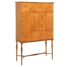 Refined Italian Highboard in Burlwood with Illustrated Doors, 1950's | See more antique and modern Sideboards at http://www.1stdibs.com/furniture/storage-case-pieces/sideboards