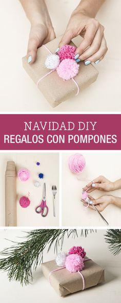 Tutorial DIY: Cómo envolver regalos de Navidad con pompones - Manualidades en DaWanda.es