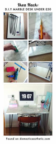 Easy DIY ikea hack marble desk for under £50