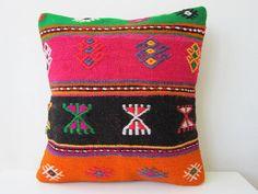 Antique handmade kilim (rug) pillow case -from eastern anatolia. $69.00, via Etsy.