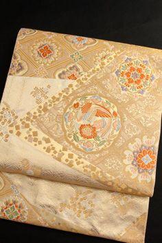 袋帯正絹西陣織服部織物こはく錦「裂取り鳳凰華文」金