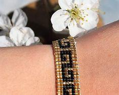 """Bracelet symbole """"S"""" en perles miyuki"""