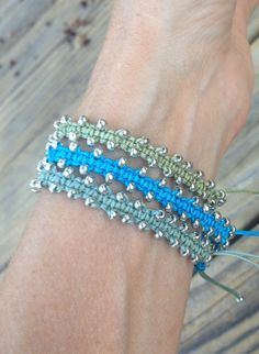 Uplifting Bali Macrame Bracelets with Turquoise by AngeliteDesigns