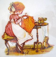 """Holly Hobbie Plate 1972 """"What's Stitched with Love""""."""