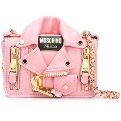 Moschino Biker Shoulder Bag ($1,315) ❤ liked on Polyvore featuring bags, handbags, shoulder bags, pink, leather crossbody, pink purse, red shoulder bag, red purse and leather crossbody purses
