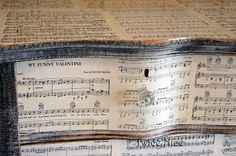 Twice Nice: Music Sheet Dresser...there is quite a difference between the white furniture decoupaged with sheet music and the distressed black...