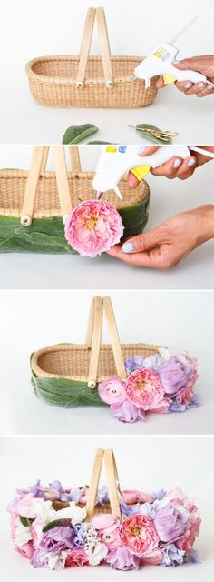 DIY Easter Basket with Fresh Flowers - 10 Egg-straordinary DIY Easter Baskets to Have a Joyous Holiday Time