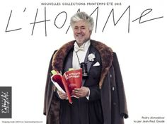 French department store Galeries Lafayette announced on February 18 that Spanish director Pedro Almodovar was the new face of its men's store. Jean Paul Goude, Cool Happy Birthday Images, Men Store, New Face, Jeans, Fashion Photography, Shopping, Celebrities, Model
