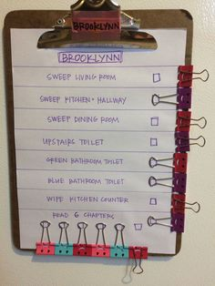 Household Hacks Cleaning Tips and Tricks DIY Chore Charts for Kids i Love Organizing Diy Hacks, Cleaning Hacks, Cleaning Schedules, Cleaning Checklist, Speed Cleaning, Weekly Cleaning, Tips And Tricks, Binder Clips, Chore Chart Kids
