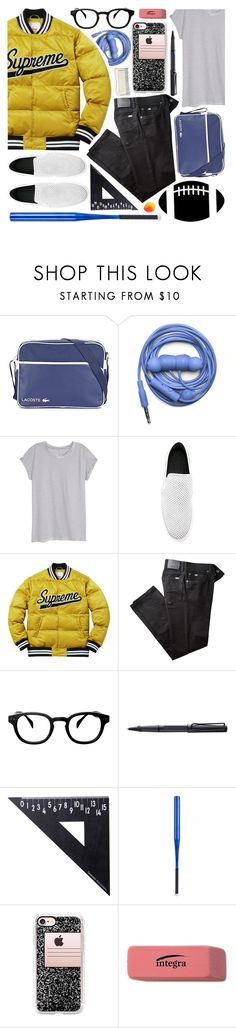 """""""cool in high school"""" by foundlostme ❤ liked on Polyvore featuring Lacoste, Urbanears, H&M, MM6 Maison Margiela, BRAX, See Concept, Lamy, Design Letters, Casetify and CO"""