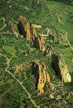 Aerial photo of Garden of the Gods, El Paso County, Colorado, CO United States