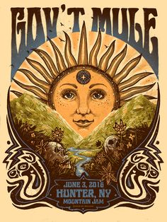 Gov't Mule Mountain Jam Poster by Zeb Love Hippie Posters, Rock Posters, Concert Posters, Theatre Posters, Buy Posters, Movie Posters, Poster Festival, Gov't Mule, Art Hippie