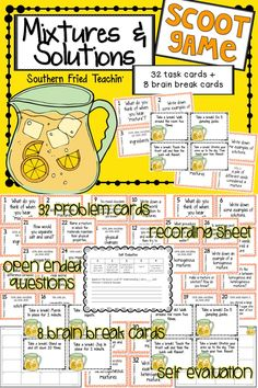 Mixtures & Solutions {Science} Scoot - 32 task cards and 8 brain breaks… Science Curriculum, Science Resources, Science Lessons, Teaching Science, Science Activities, Science Experiments, Teaching Resources, Science Ideas, Science Fair
