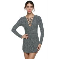 Knitting V Neck Long Sleeve Sweater Lace up Tight Bodycon Mini Going Out Dresses