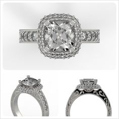 We want nothing but absolute satisfaction for each of our clients, who in turn want ONLY the best for their loved ones. When you're ready to create that dream ring, talk to us! http://brilliance.com/custom-engagement-rings (This custom Antique Halo Diamond engagement ring is set in 14K White Gold and features a beautiful Cushion-cut diamond, encircled by a halo of shimmering pave diamonds and antique-style milgrain detailing.)