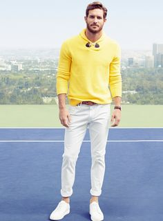 Justice Joslin | Yellow Sweater | Men's Fashion | Menswear | Men's Casual Outfit for Spring/Summer | Moda Masculina | Shop at designerclothingfans.com