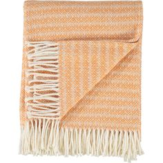 """Penedo"" Orange Fringed Chevron Throw - TK Maxx"