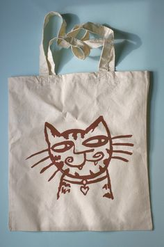 Heart Kitty Shopper Tote by supah on Etsy, $12.00