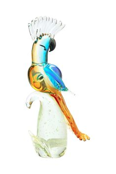 "14"" Hand Blown Glass Murano Art Style Parrot Cockatoo Bird Figurine Sculpture 