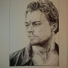 Leonardo Dicaprio pen drawing.