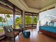 Architecture, Nice Window Panes Nice Hardwood Floor Classic Chair Nice Classic Bed Idea Nice Footstool Tropical Bedroom Idea: A Magnnificent Beach House in Hawaii